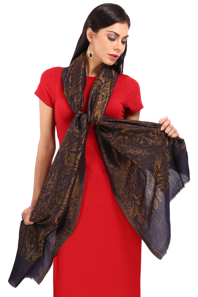 Navy Blue Zari Fine Wool Stole - 01