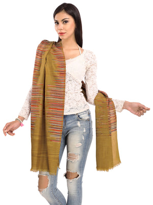 Mustard Brown Stripes Pure Wool Stole