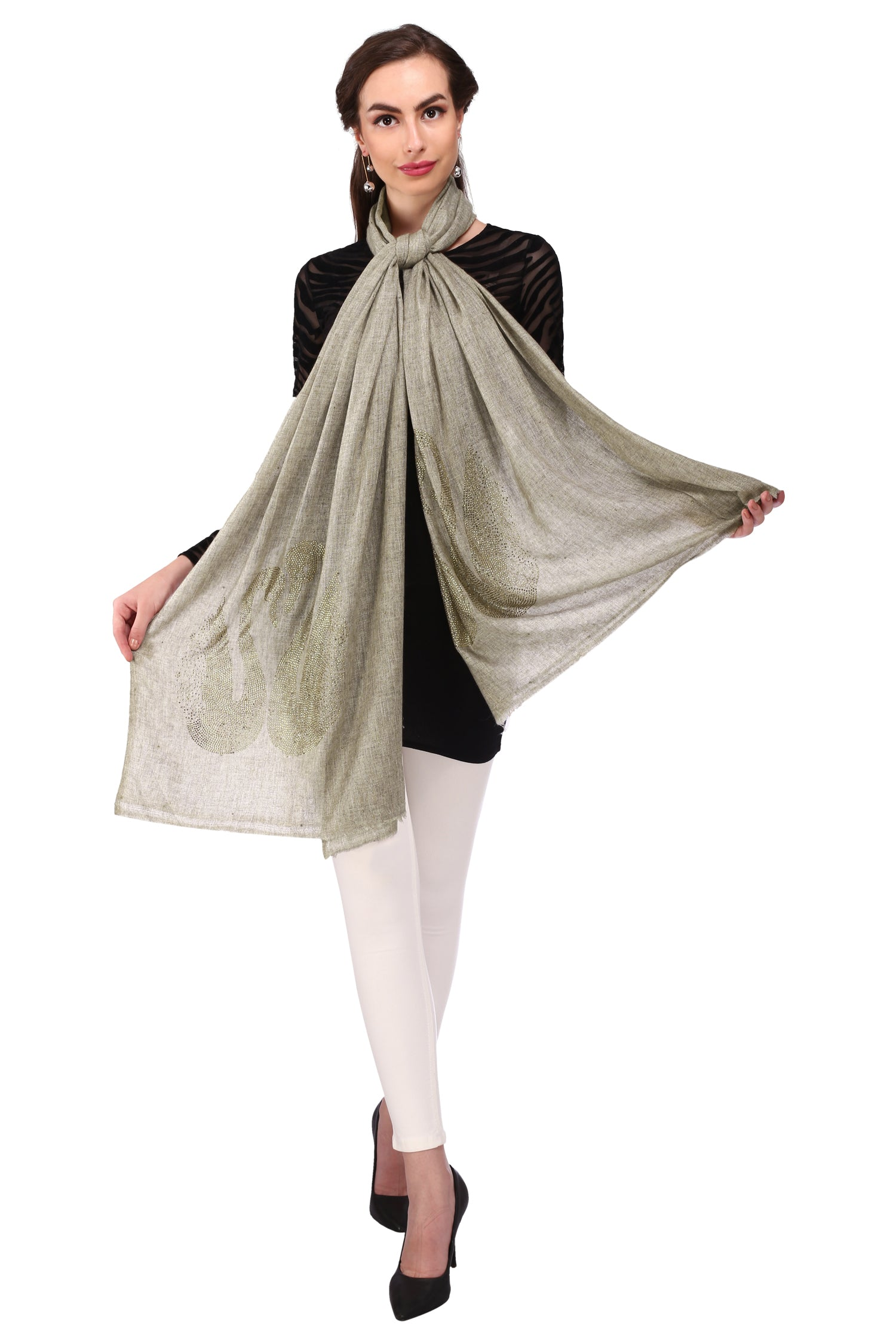 Grey Duo Crystal Duck Pure Wool Stole - 02