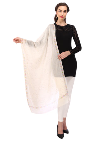 Streaked Pure Wool Stole - White