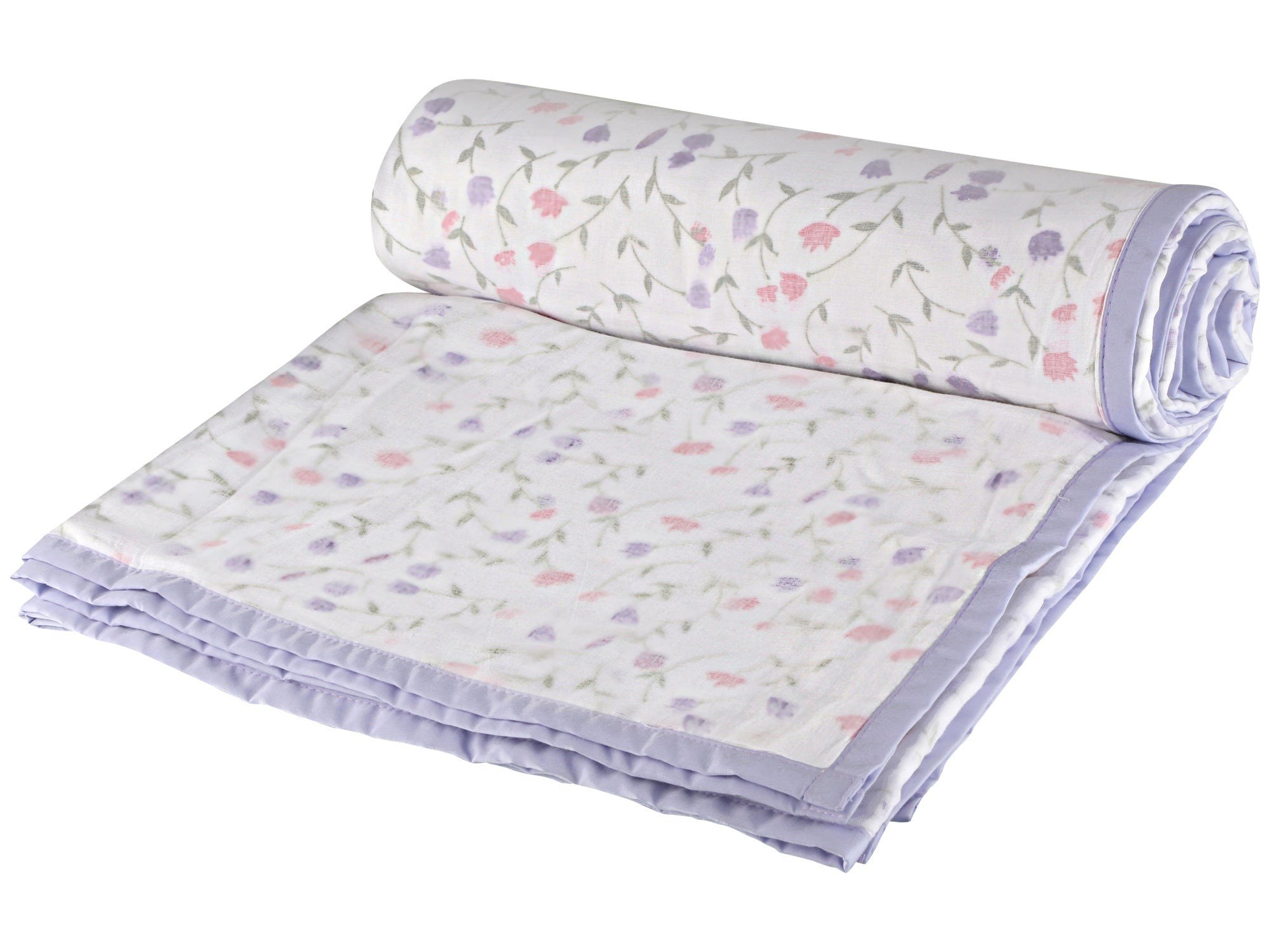 Purple Floral Cotton Single Dohar - II (88 x 58 inches)