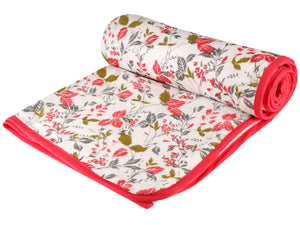 Pink Floral Cotton Single Dohar - V (88 x 58 inches)