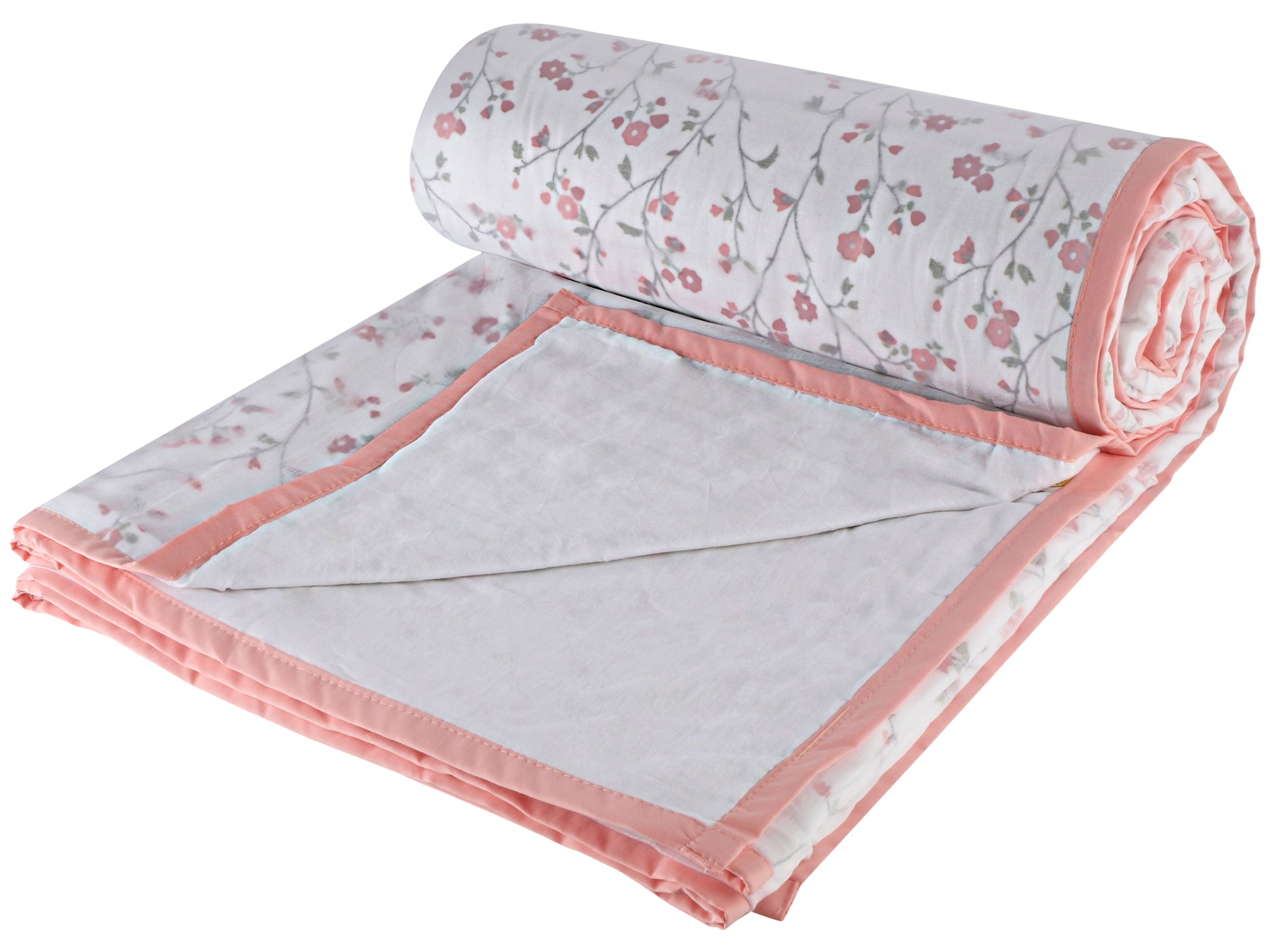 Pink Floral Cotton Single Dohar - VI (88 x 58 inches)