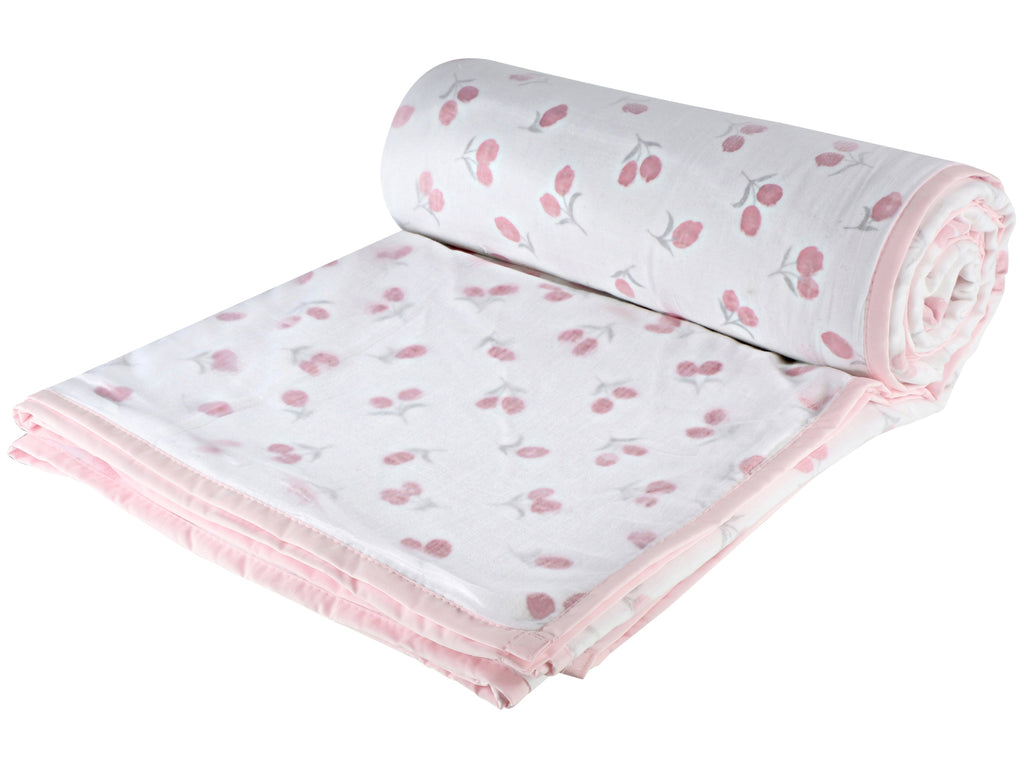 Pink Floral Cotton Single Dohar - VII (88 x 58 inches)