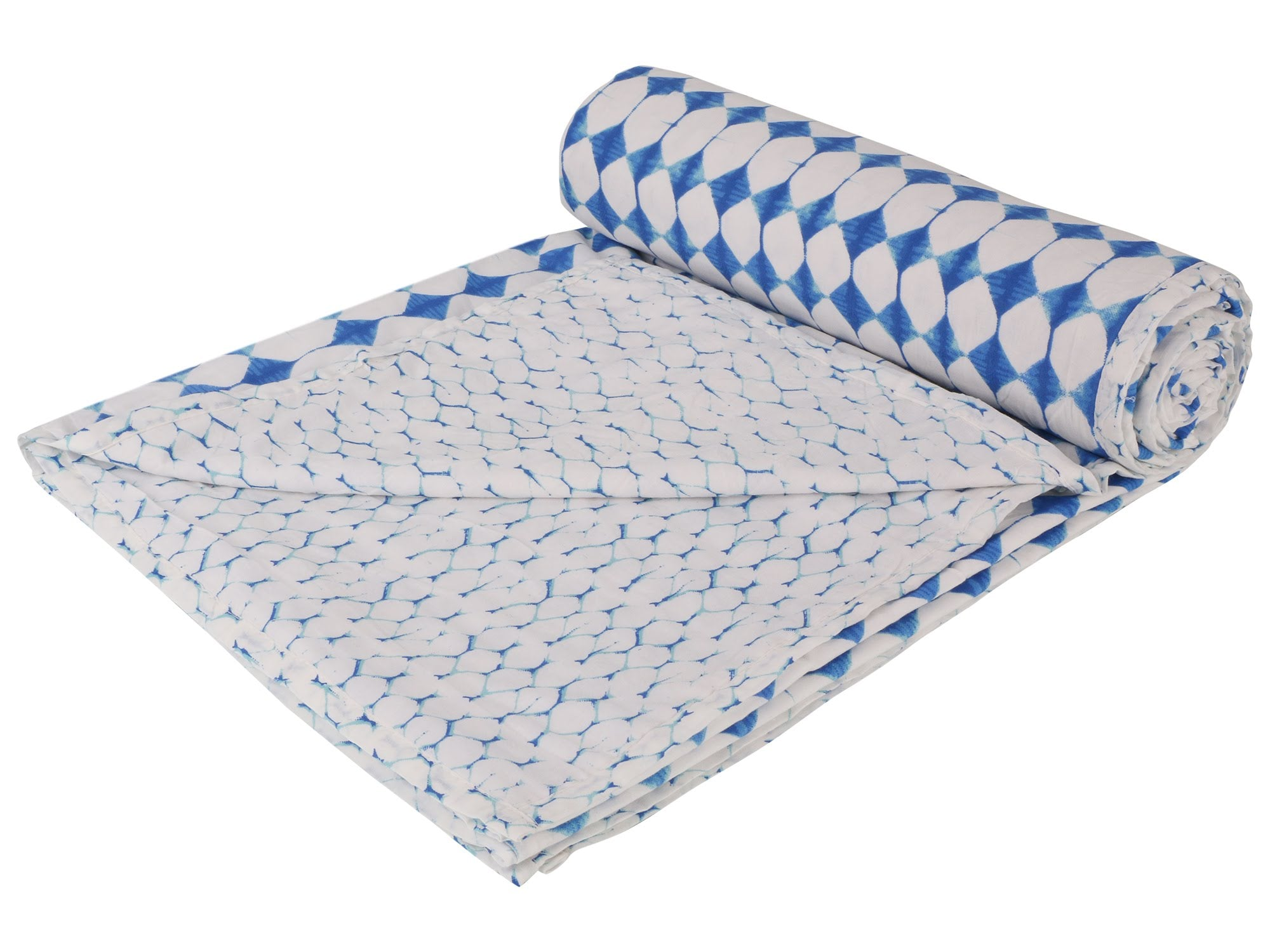 Indigo Reversible Cotton Single Dohar - 2 (90 x 58 inches)