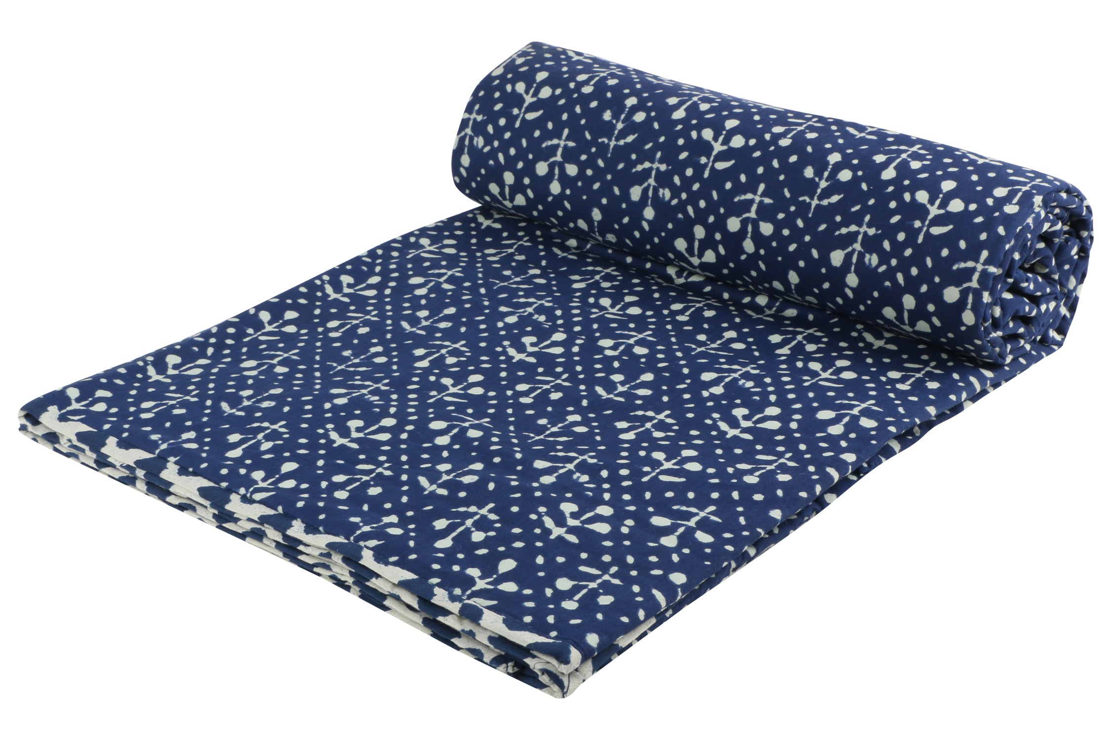 Indigo Reversible Cotton Single Dohar - 5 (90 x 58 inches)