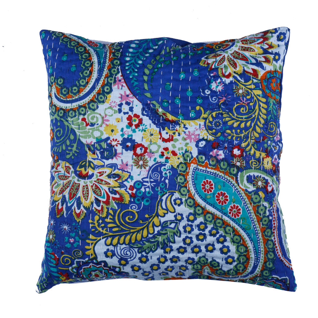 Indigo Kantha Cushion Cover - 3
