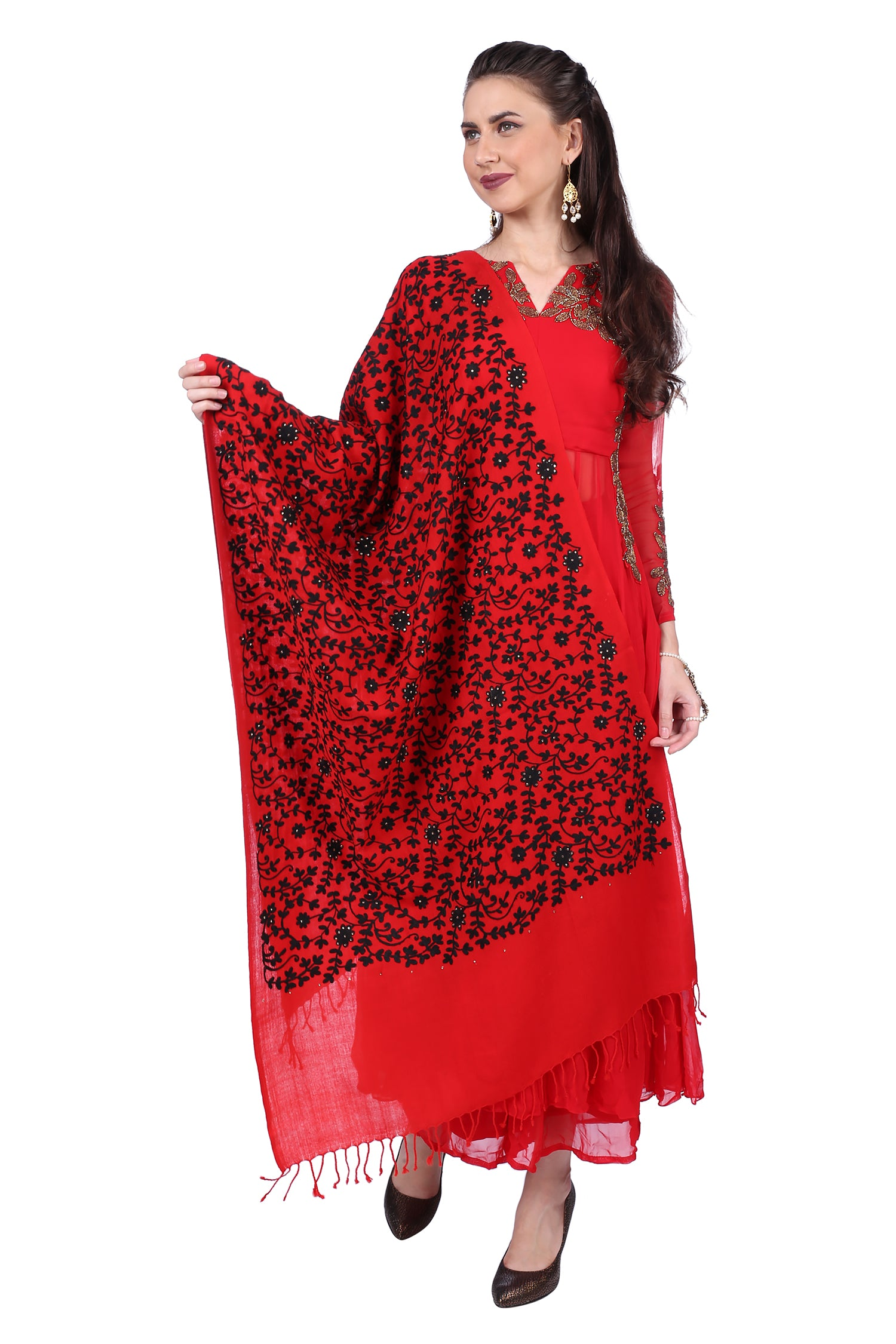 Red Aari Fine Wool Stole
