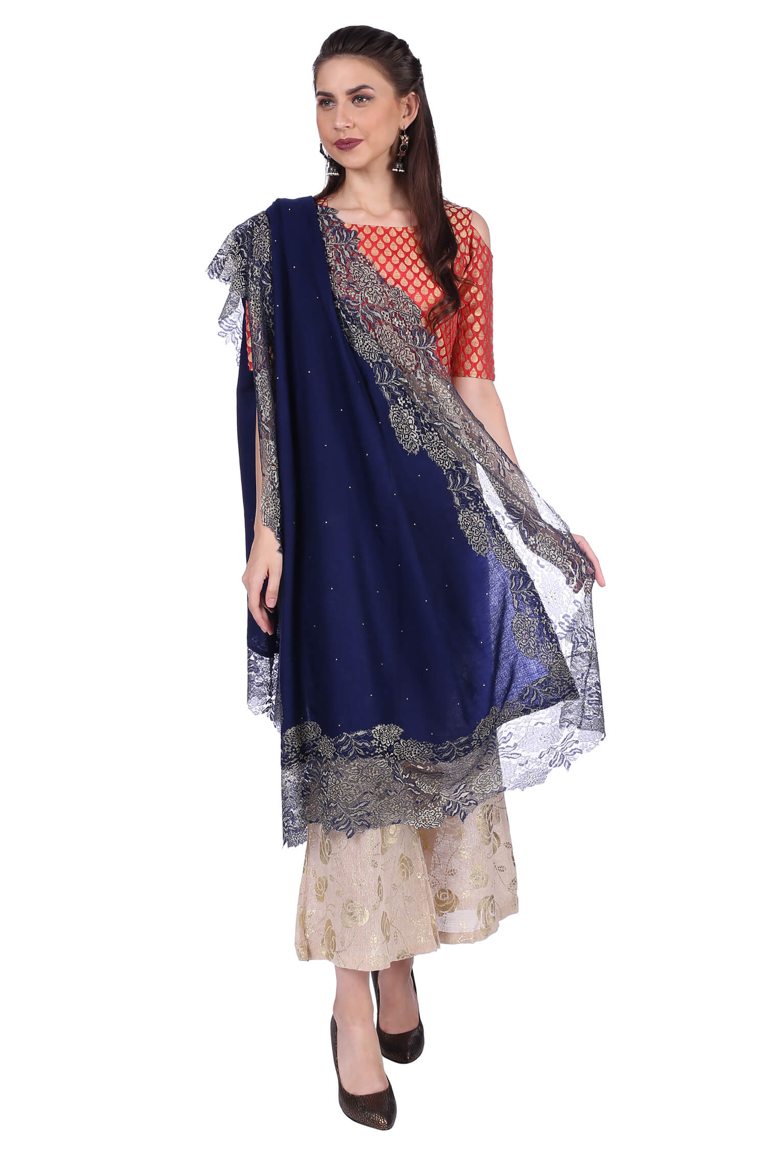 Blue Metallic Lace Fine Wool Stole