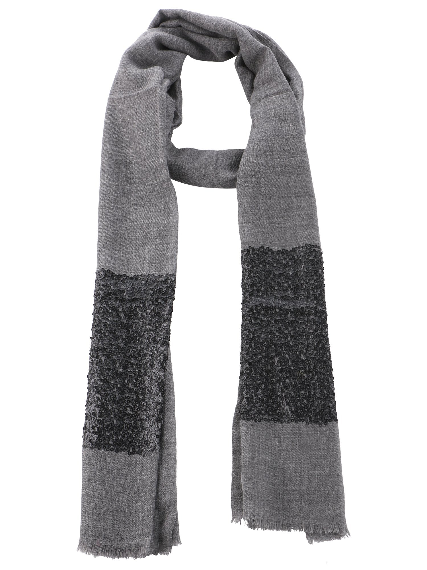 Sequins Fine Wool Stole - 2
