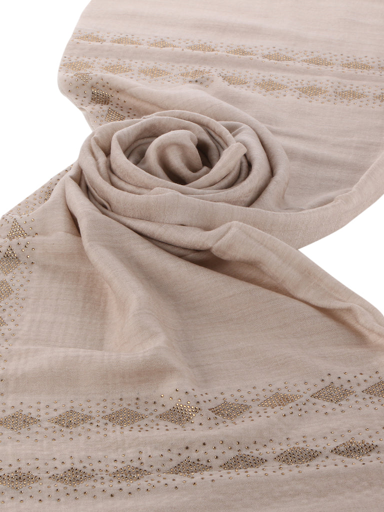 Vivaha Fine Wool Stole - Diamond Border-2