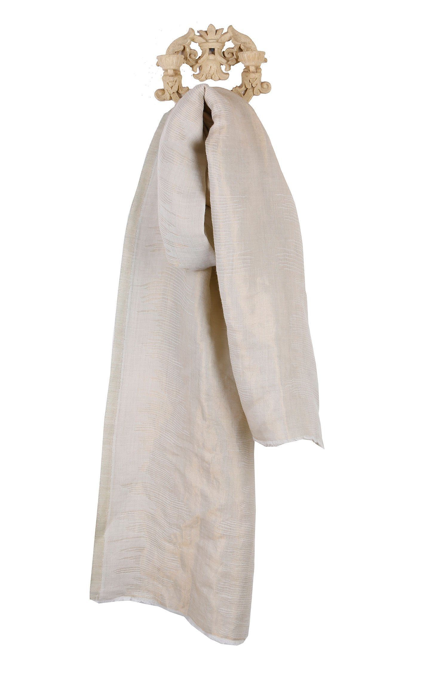 White & Gold Zari Fine Wool Stole
