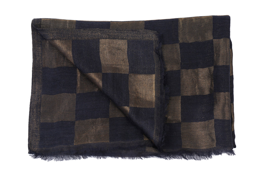Vivaha Fine Wool Stole - Checks Zari