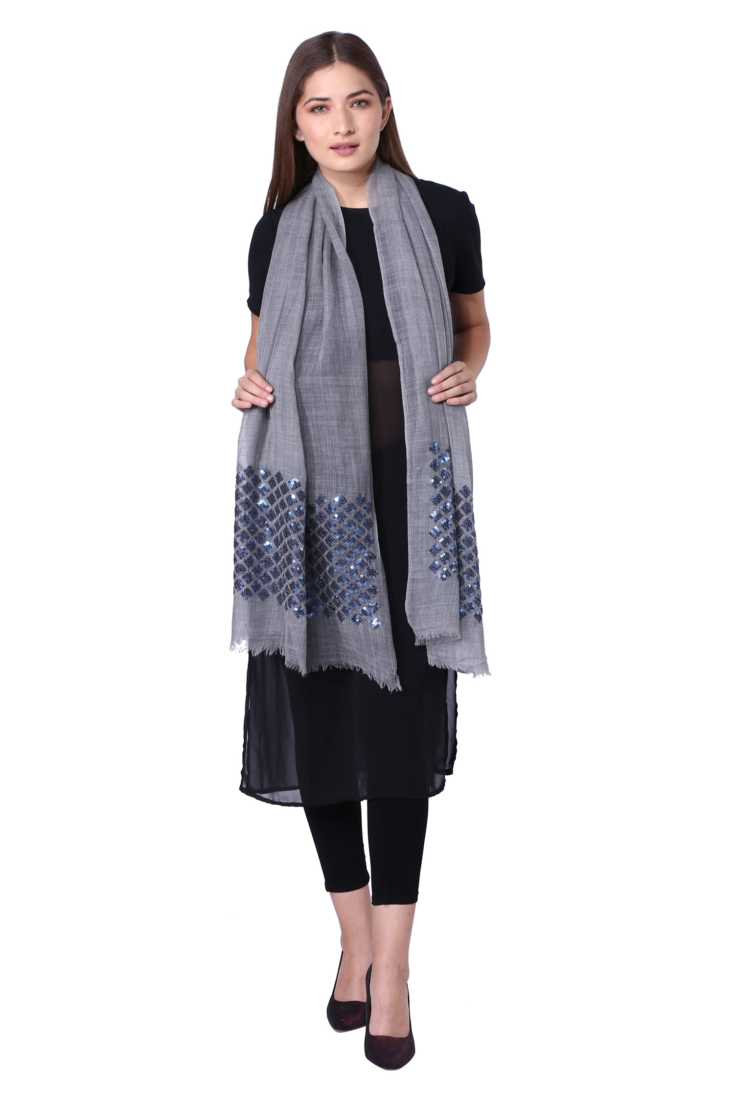 Grey & Blue Twinkle Fine Wool Stole