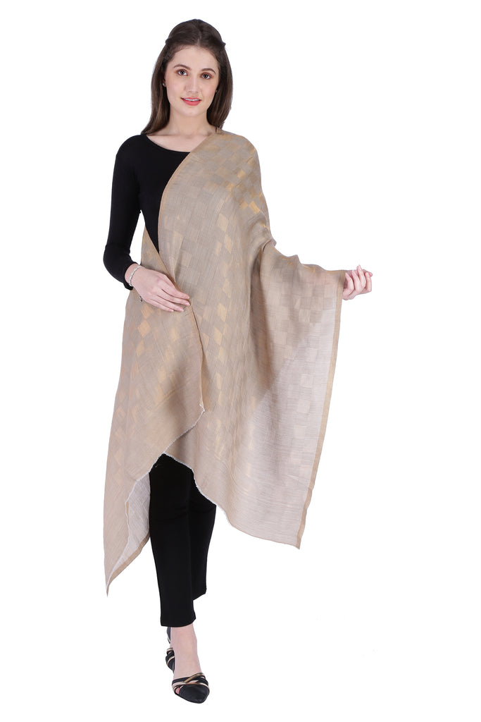 Beige Zari Checks Fine Wool Stole - 5