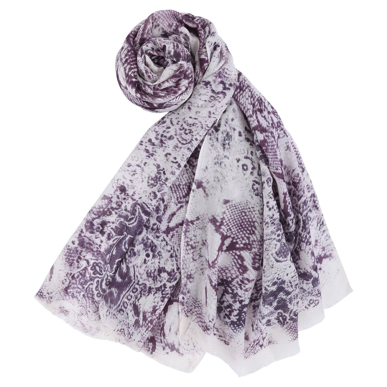 Purple Floral Cotton Stole