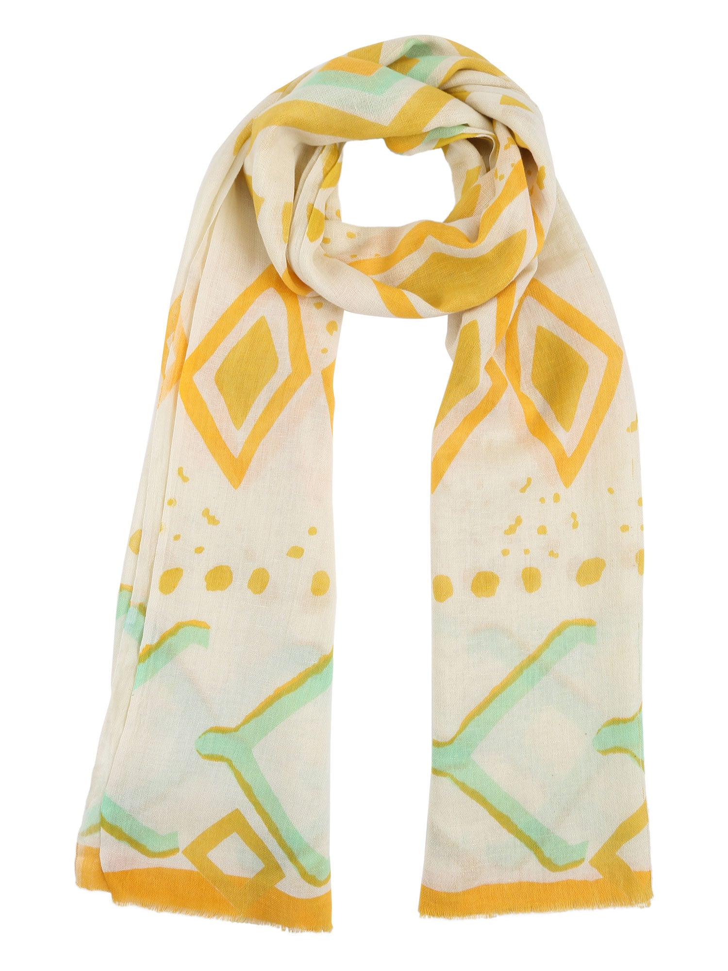 Yellow Abstract Cotton Stole
