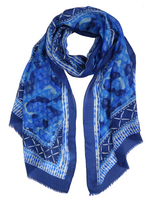 Blue Abstract Printed Silk Stole
