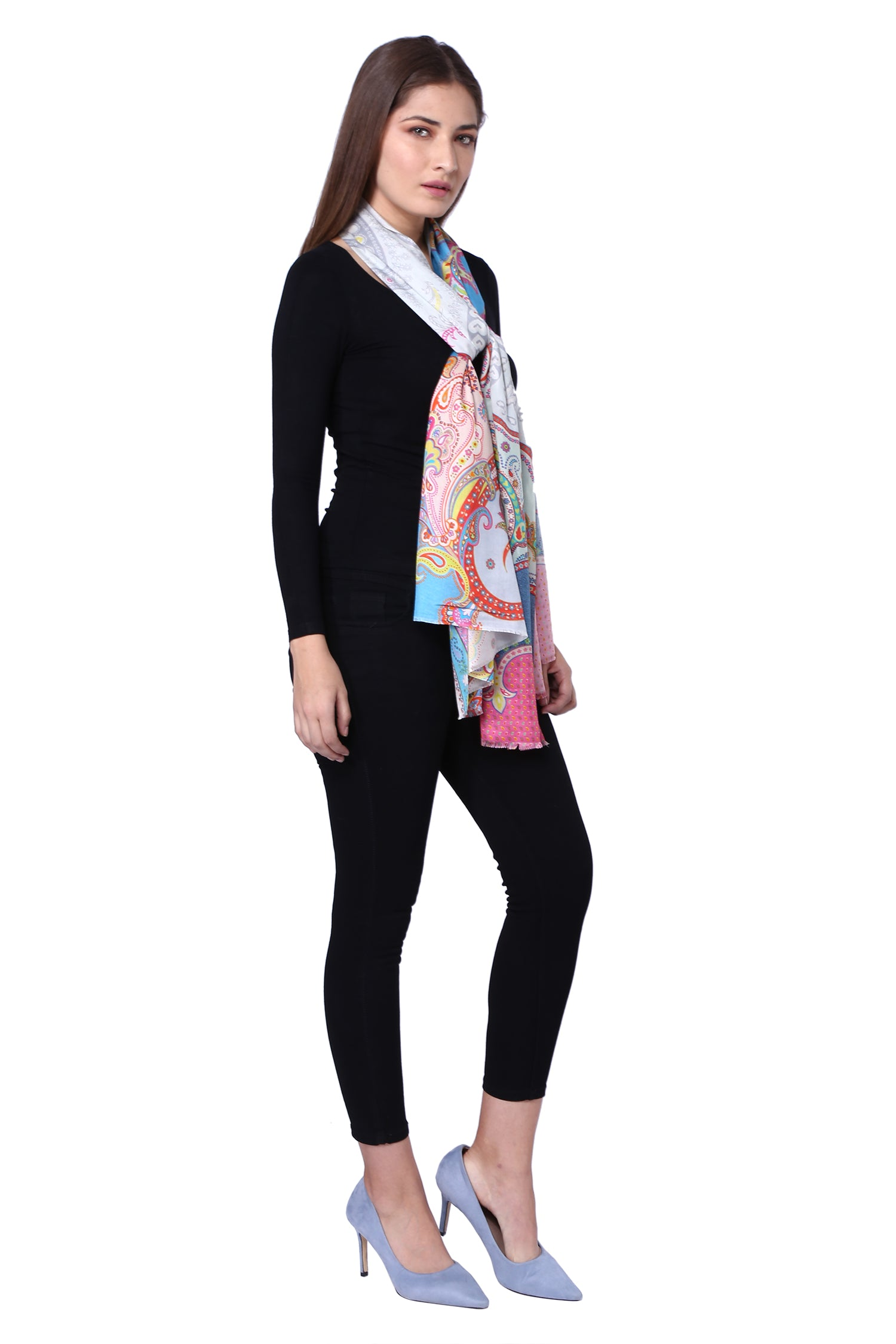 Multicolour Floral & Paisley Printed Silk Stole