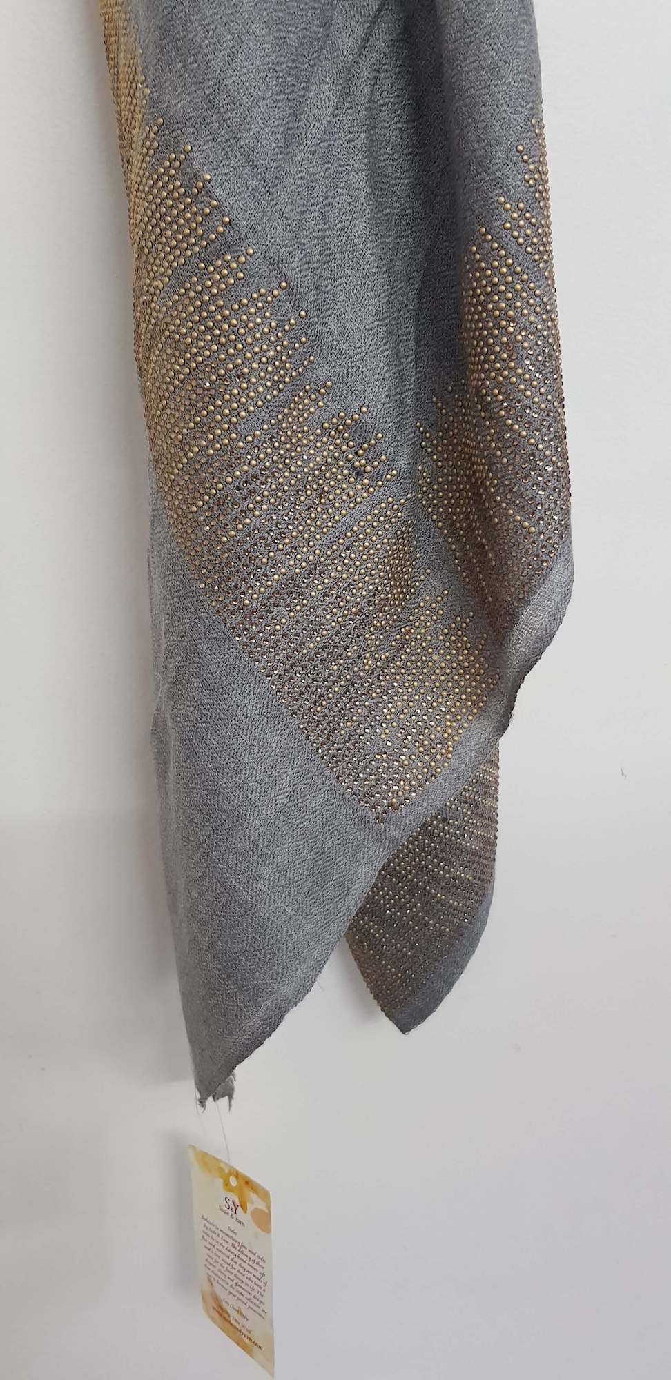 Crystals Fine Wool Stole - Grey