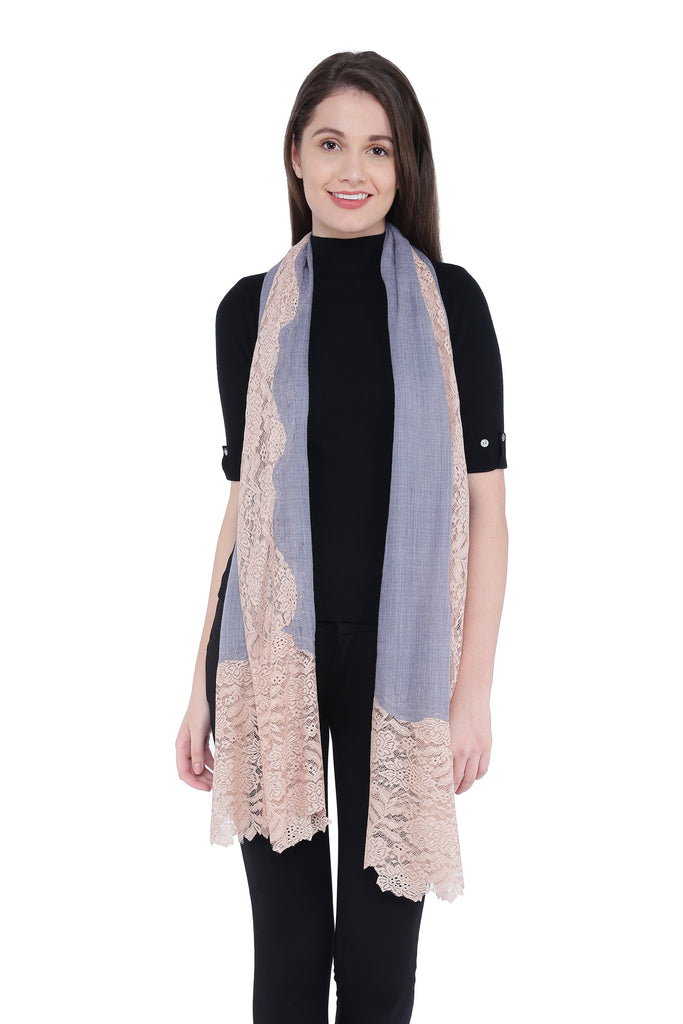 Grey & Pink Lace Fine Wool Stole