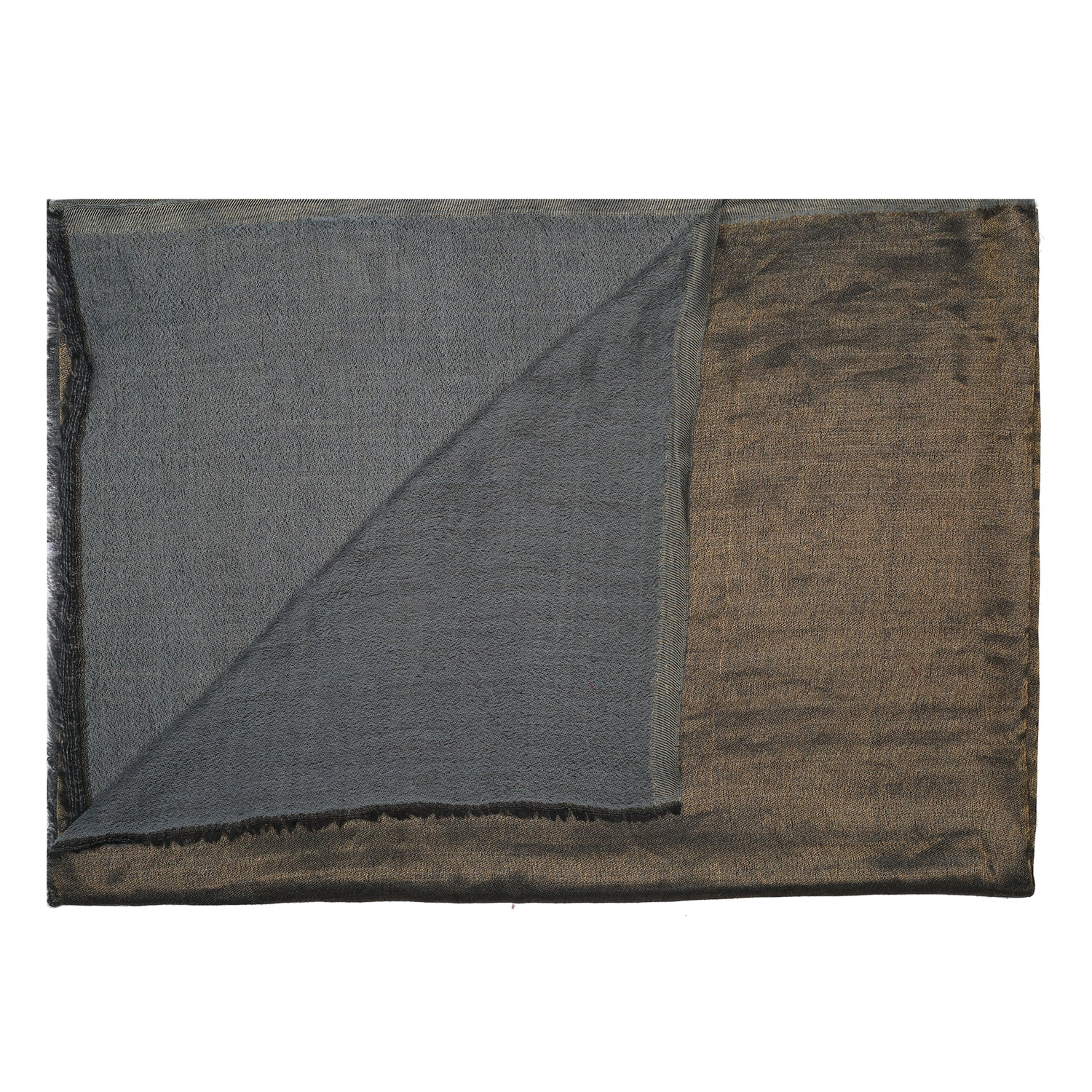 Grey Zari Reversible Fine Wool Stole