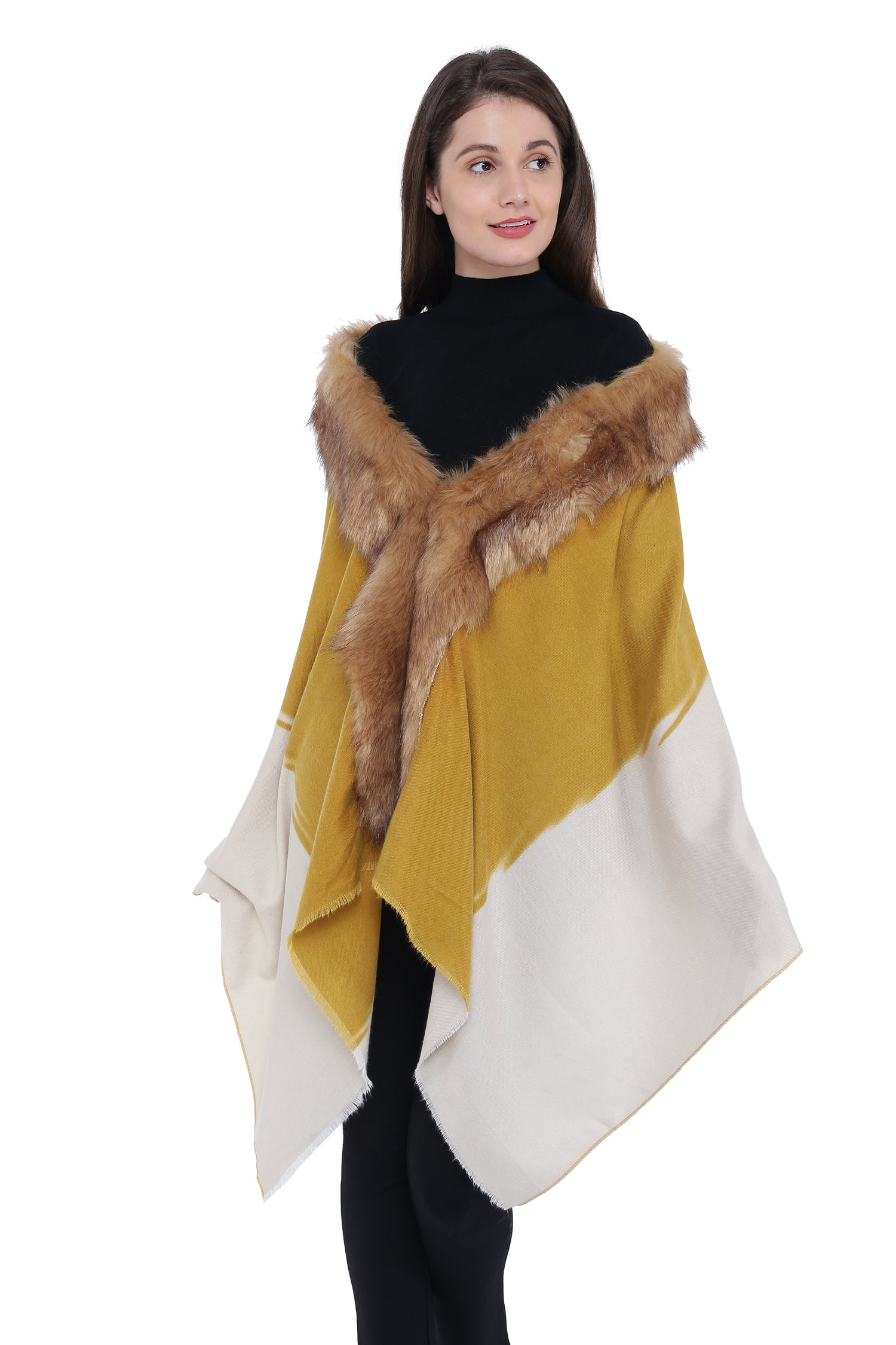 Faux Fur Shrug Poncho