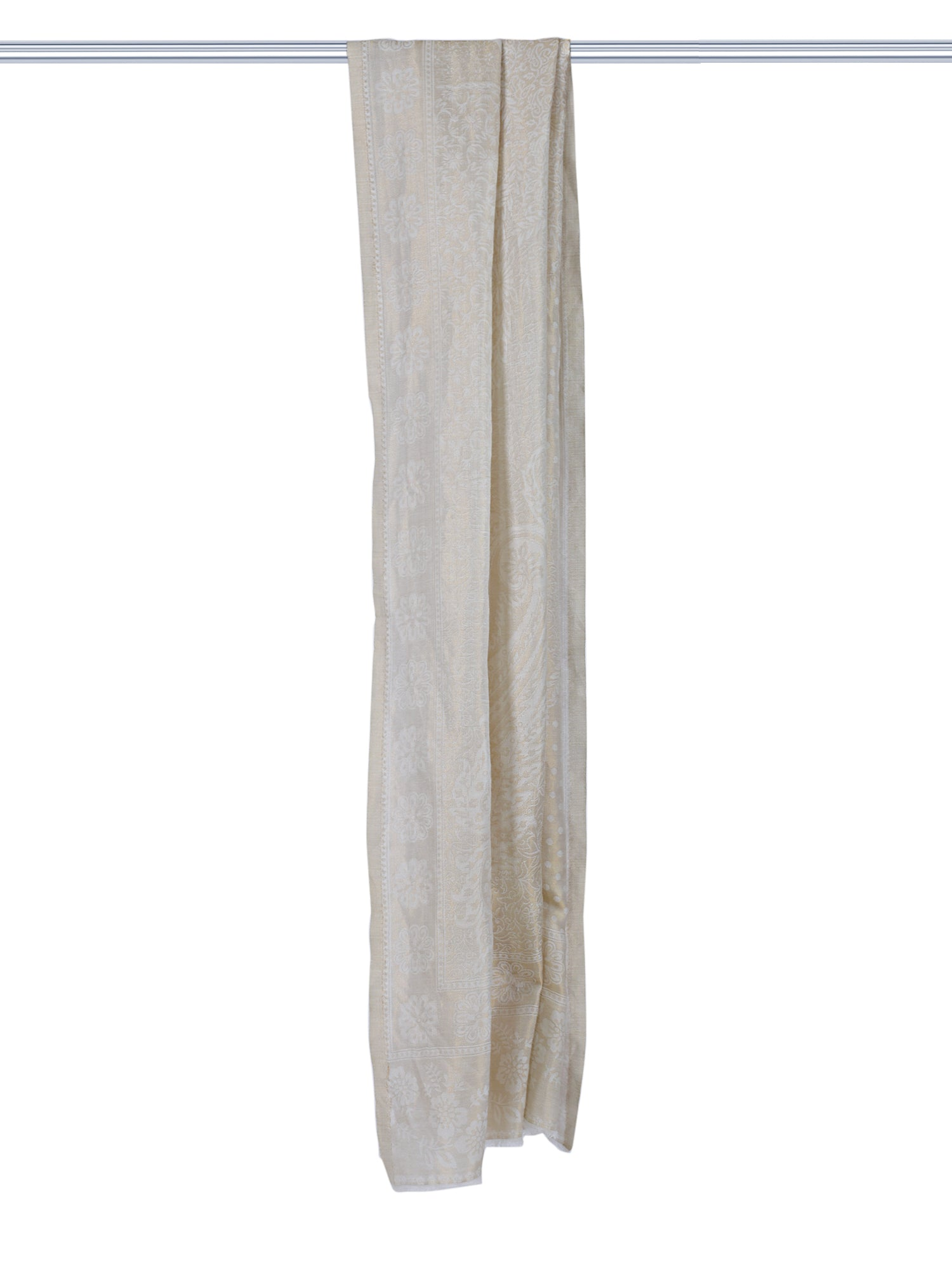 White & Gold Fine Wool Stole -1
