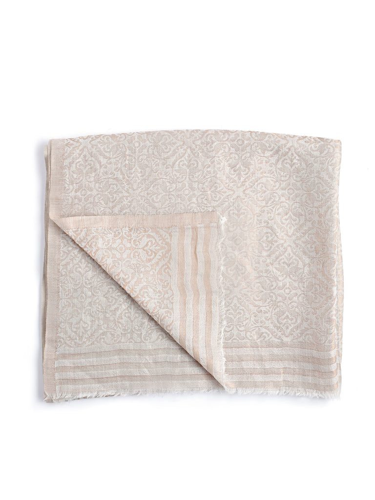 White & Gold Fine Wool Stole -2