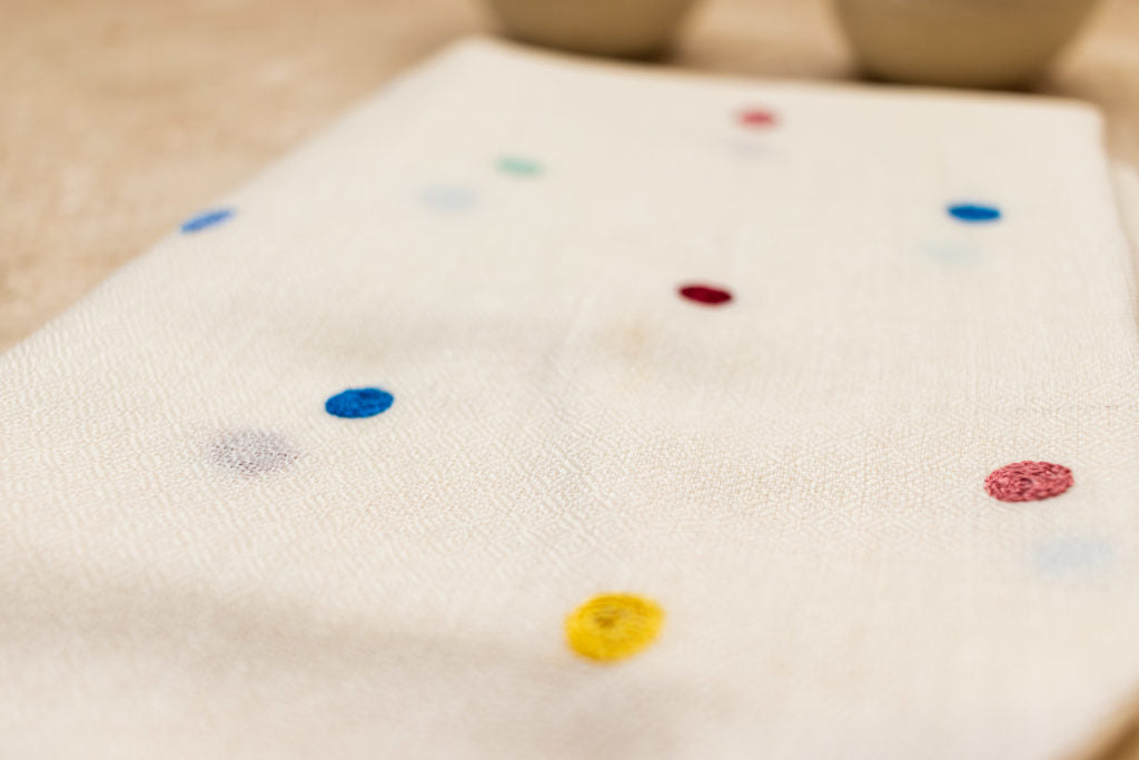 Multicolour Polka Dot Fine Wool Stole