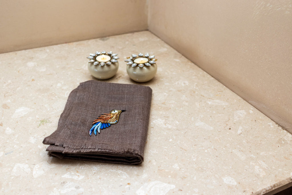 Embroidery Fine Wool Stole - Bird