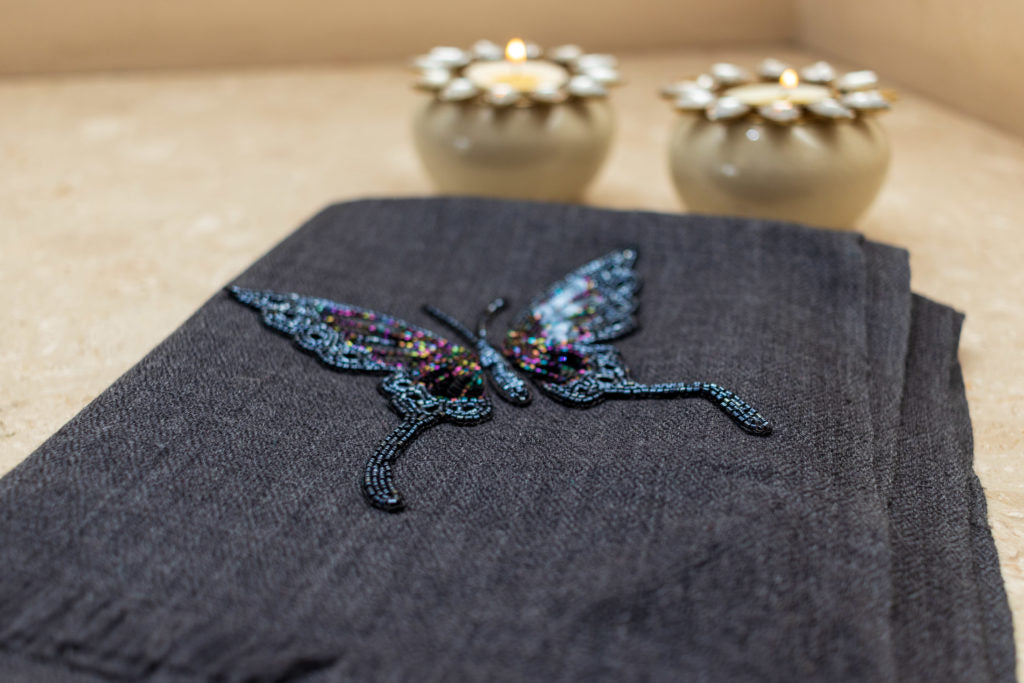 Embroidery Fine Wool Stole - Butterfly