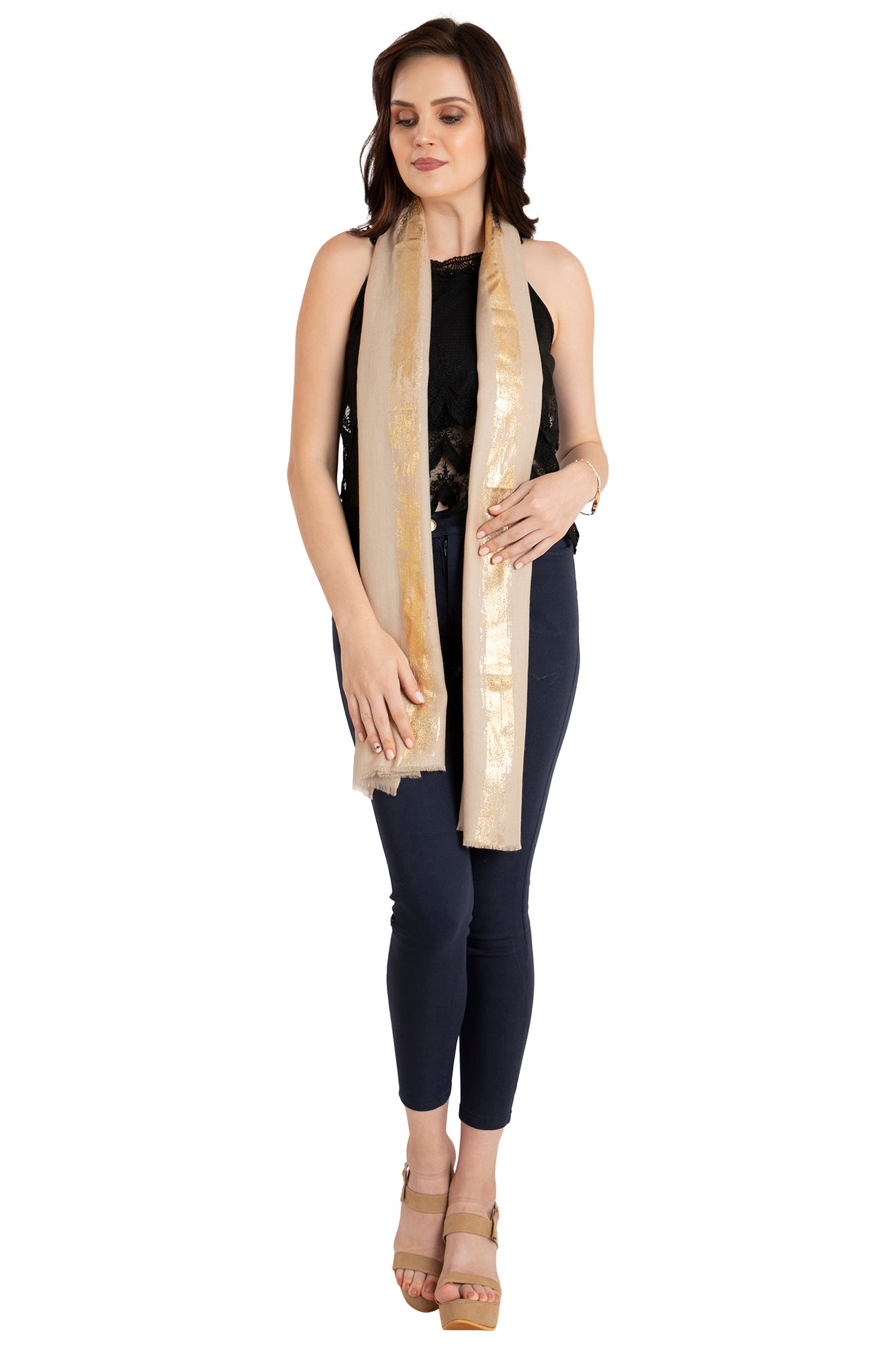Dazzling Honey Fine Wool Stole
