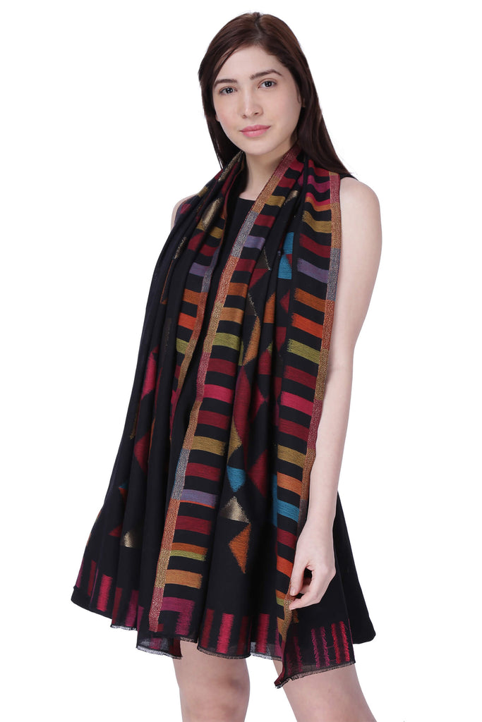 Black Zari Triangle Fine Wool Stole