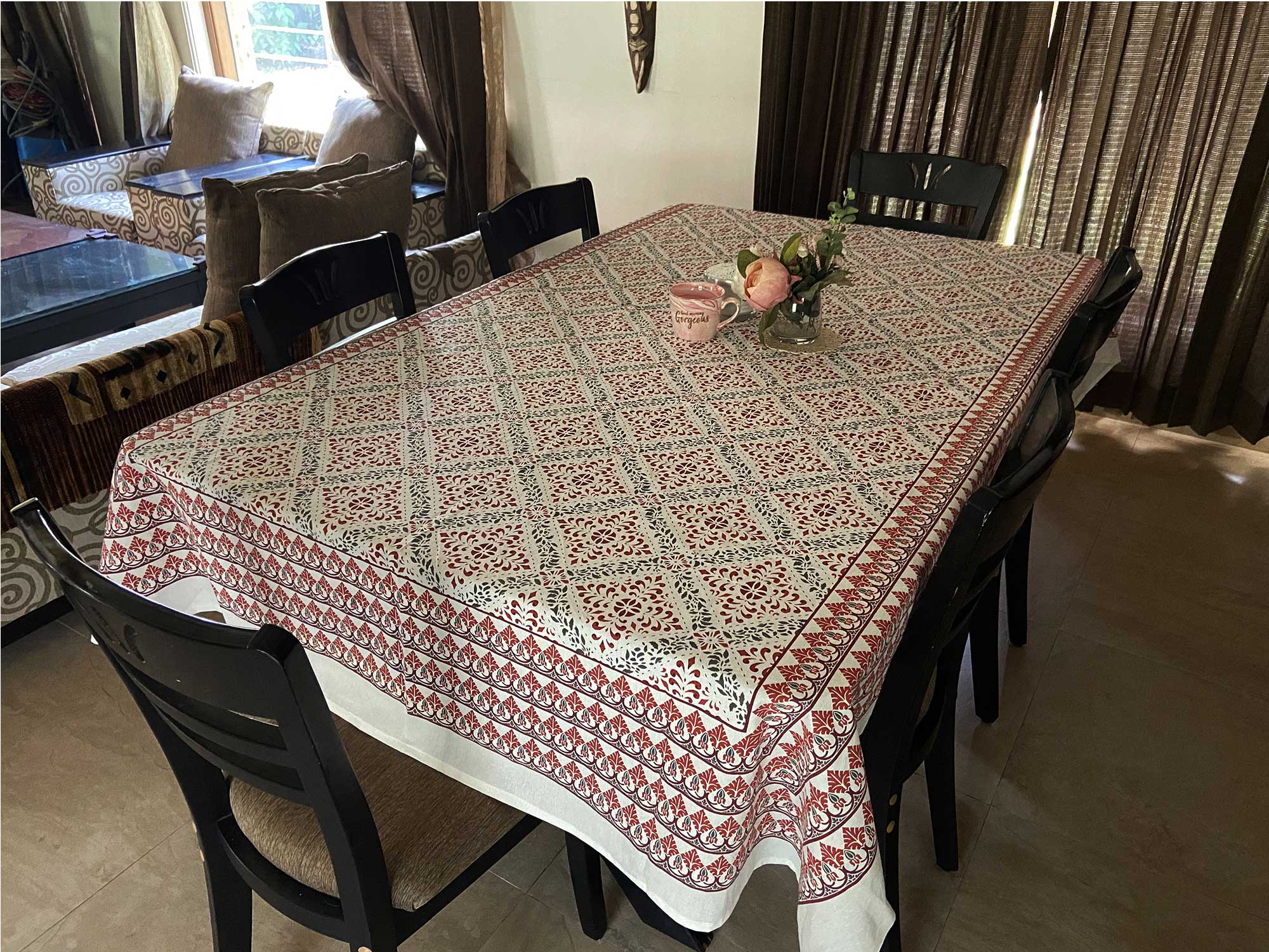 Jaipuri 6 Seater Cotton Table Cover  - 7910