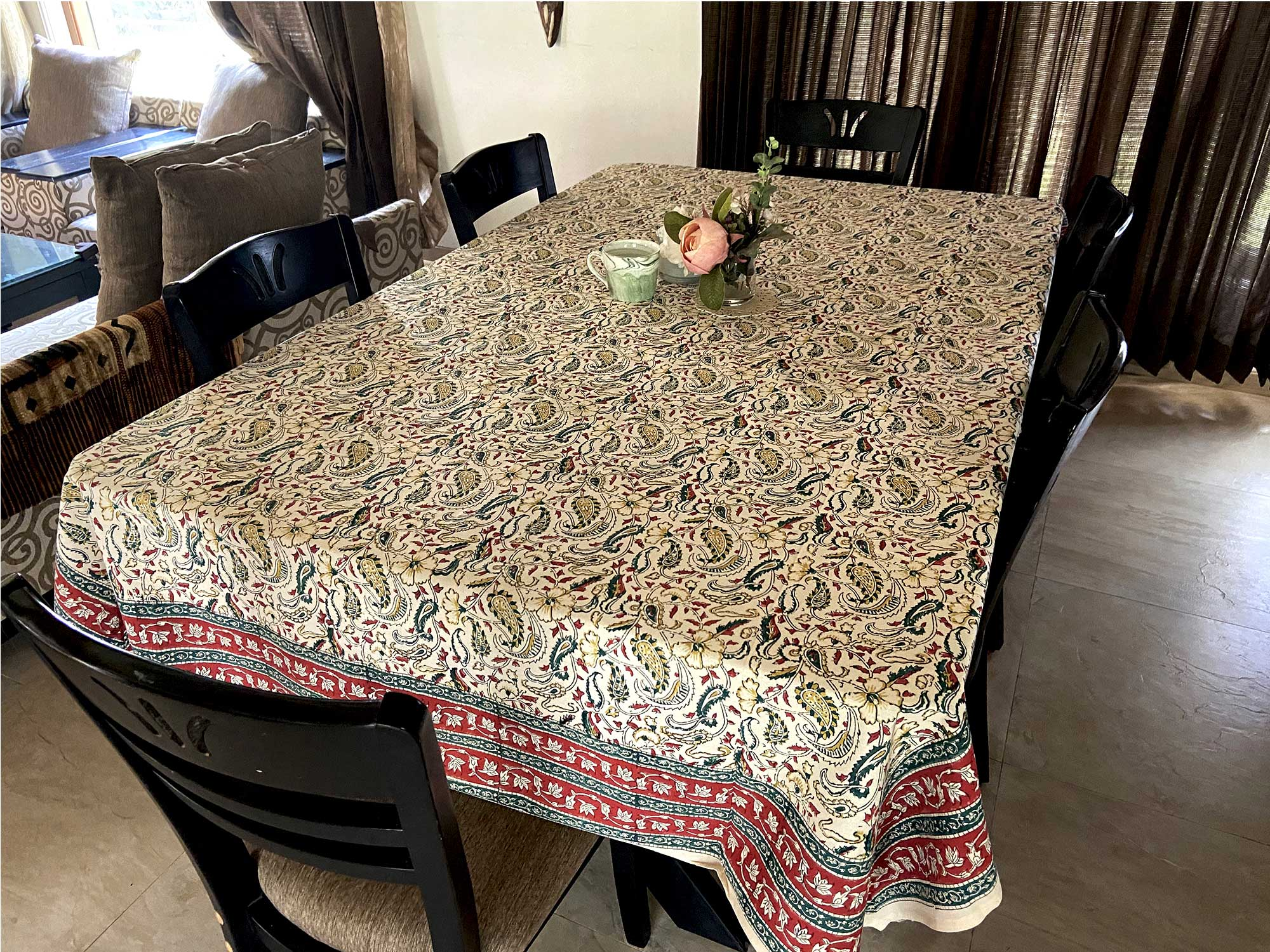 Jaipuri 8 Seater Cotton Table Cover  - 8006