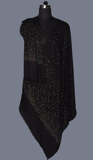 Black Crystals Fine Wool Stole