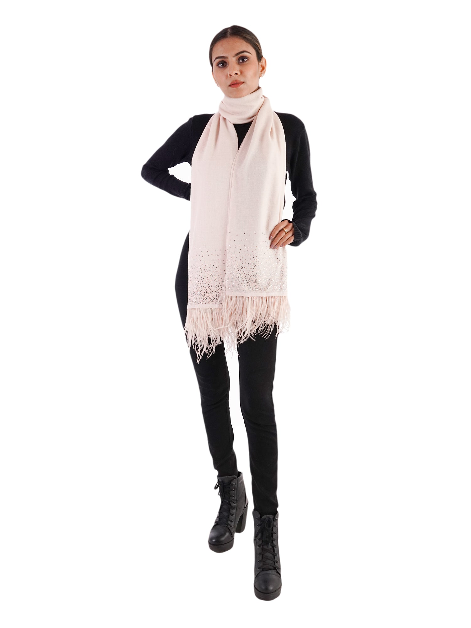 Crystal & Feather Fine Wool Stole - Baby Pink
