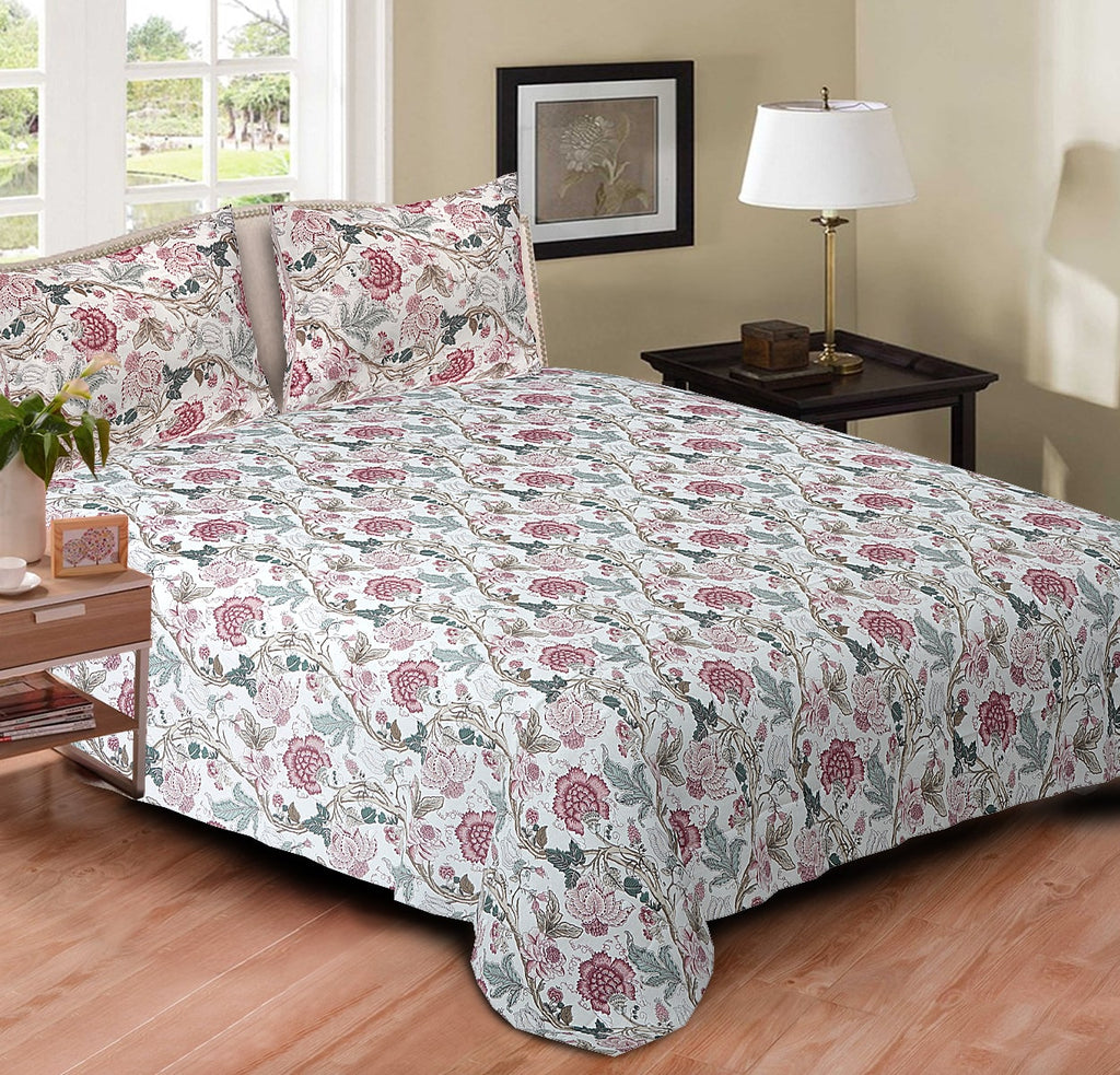 Blossoms Cotton Double Bedspread - Pink