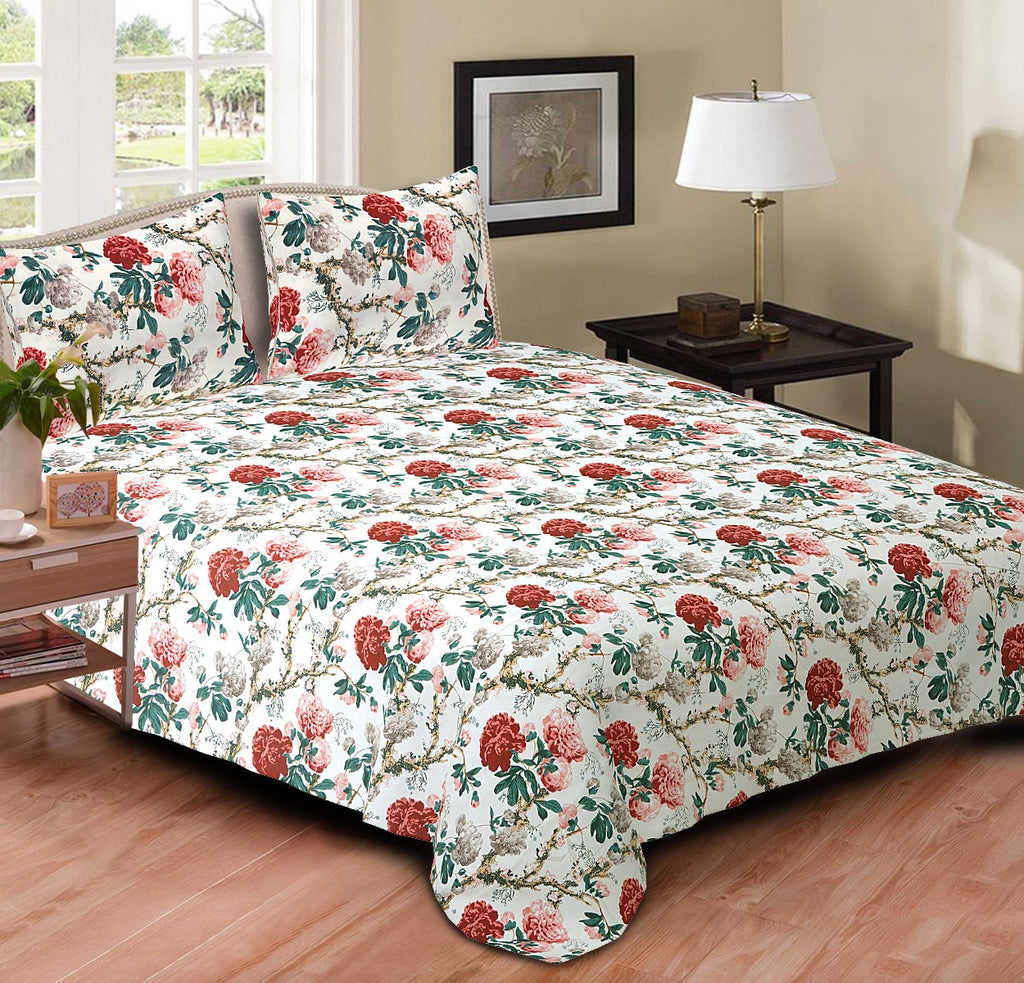 Blossoms Cotton Double Bedspread - Queen 105 x 90 inches