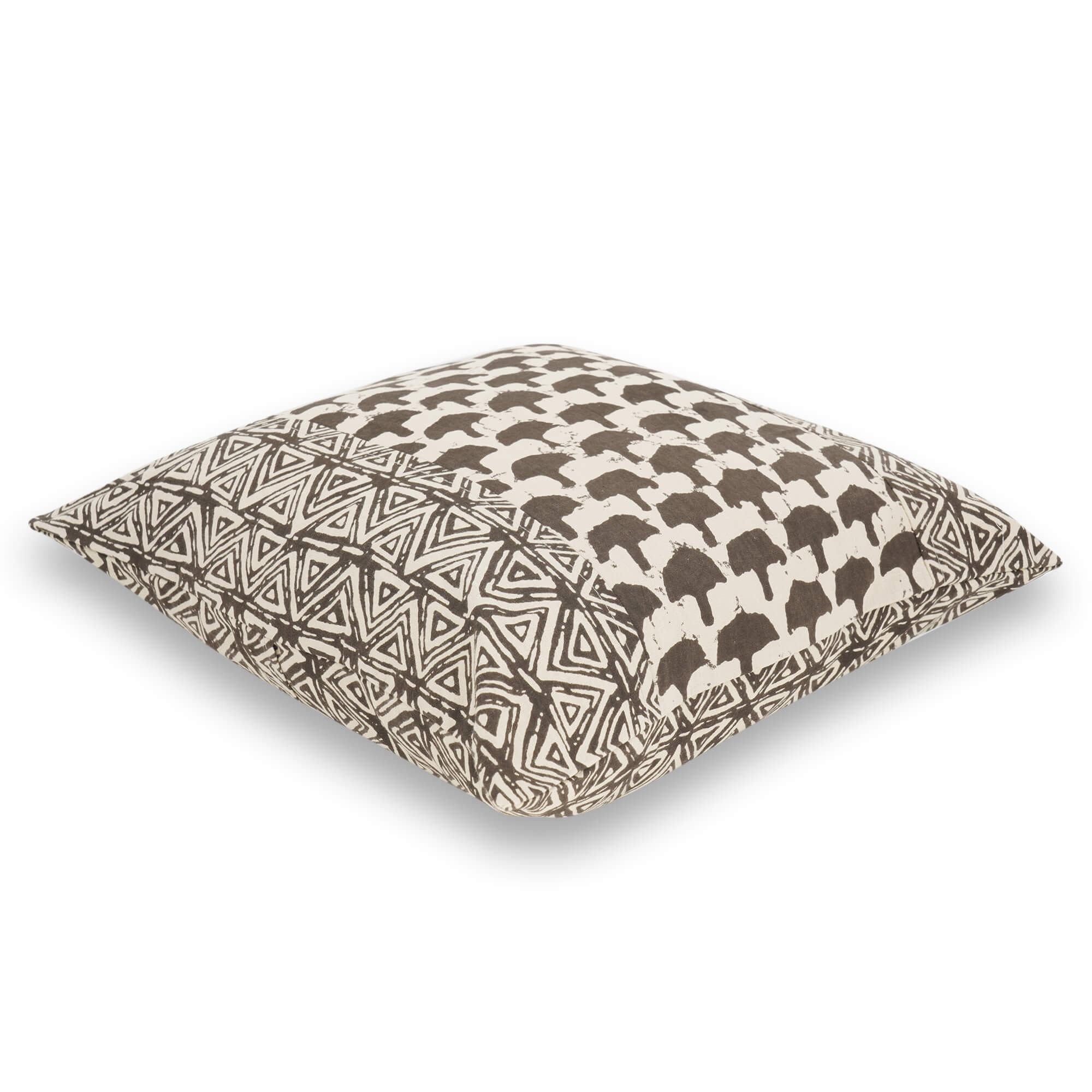 Ajrakh Hand Block Printed Cotton Cushion Cover - 8063