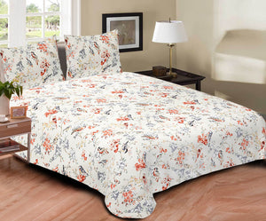 Blossoms Cotton Bedspread King Size - Birds