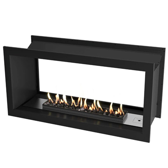Flueless Gas Fireplace, Double Sided Built-In, Black with stones - MultiFire - Fireplace Specialists