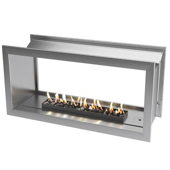 lueless Gas Fireplace, Double Sided Built-In, Stainless Steel