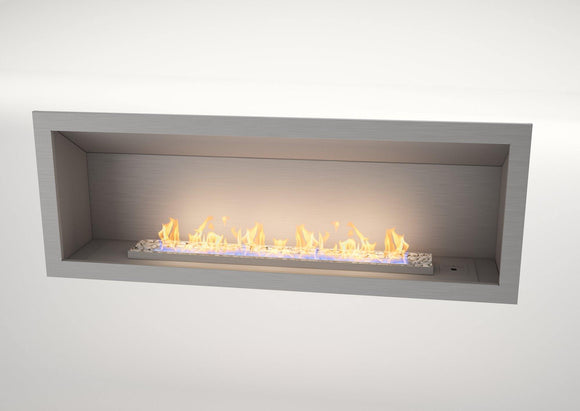 Flueless Gas Fireplace, Single Sided Built-In, Stainless Steel with stones