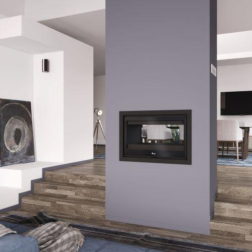 Lacunza Nickel 800 Double Sided Built In Fireplace 12kw