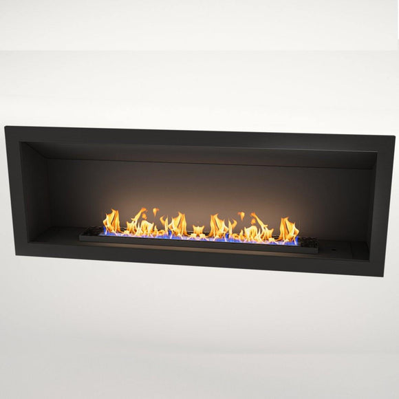 Flueless Gas Fireplace, Single Sided Built-In, Black with stones