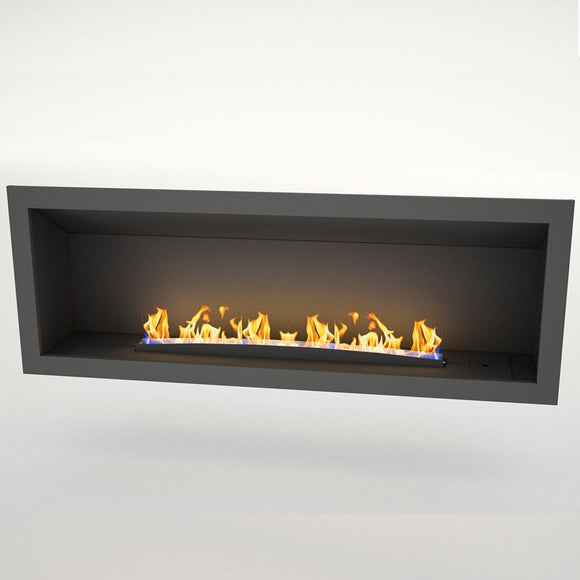Flueless Gas Fireplace, Single Sided Built-In, Black