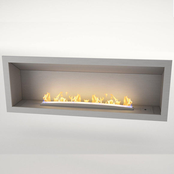 Flueless Gas Fireplace, Single Sided Built-In, Stainless Steel - MultiFire - Fireplace Specialists