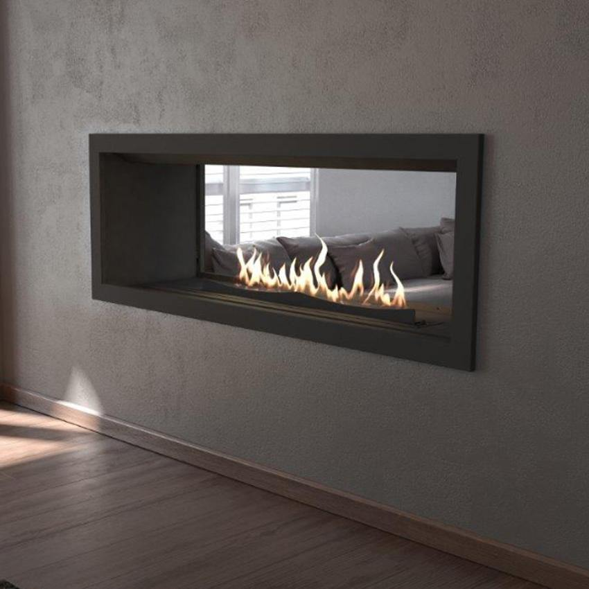 Flueless Gas Fireplace Double Sided Built In 1100mm Black